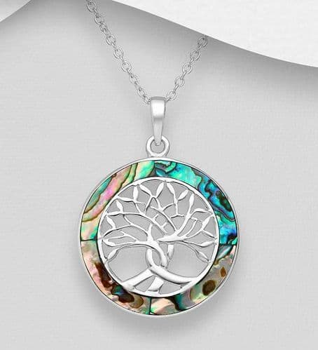 925 Sterling Silver Tree of Life Pendant and Chain Decorated With Abalone Stone Shell